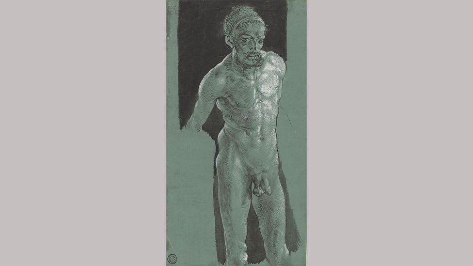 Nude Self-Portrait – Albrecht Dürer (c1499); it's unclear how Dürer created this self-portrait, as he only had a small mirror
