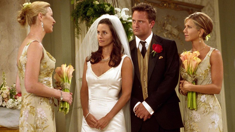 Monica and Chandler's wedding was the finale of the seventh season – and featured the revelation that Rachel was pregnant (Credit: Alamy)