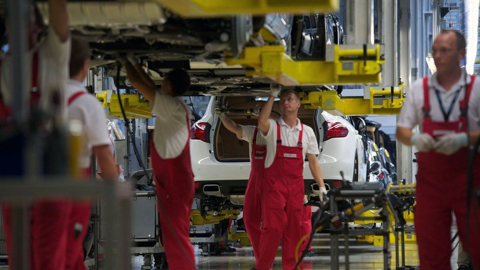 At Porsche's plant in Leipzig, the company uses ergonomics to help workers get through shifts without strain, which may enable older workers to be more productive (Credit: Alamy)