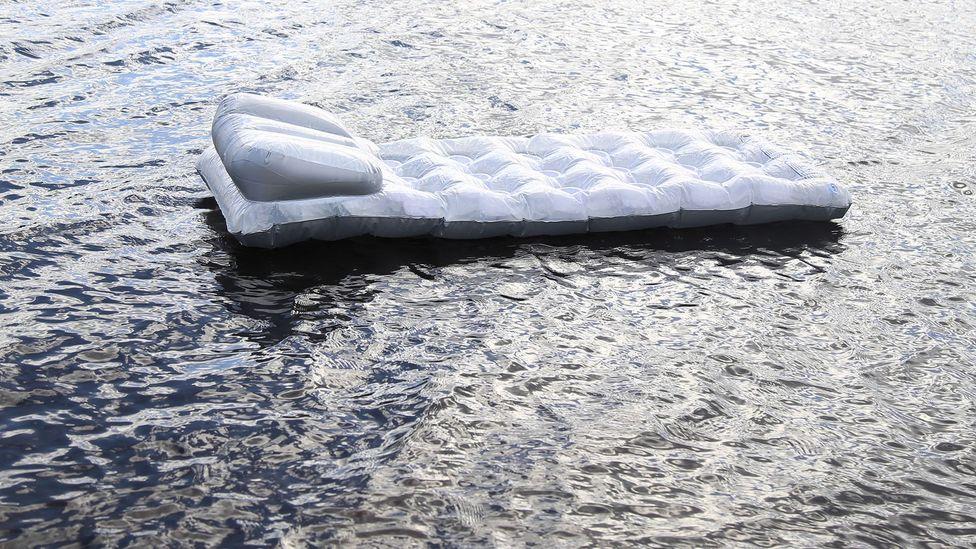 David Rickard's installation Adrift features footage of an inflatable lilo (Credit: David Rickard)