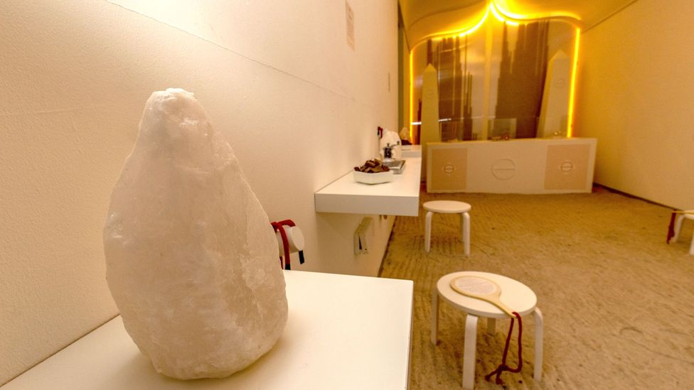 Bompas and Parr have created a 'salt cave', on display at the Welcome Home exhibition (Credit: BBC)