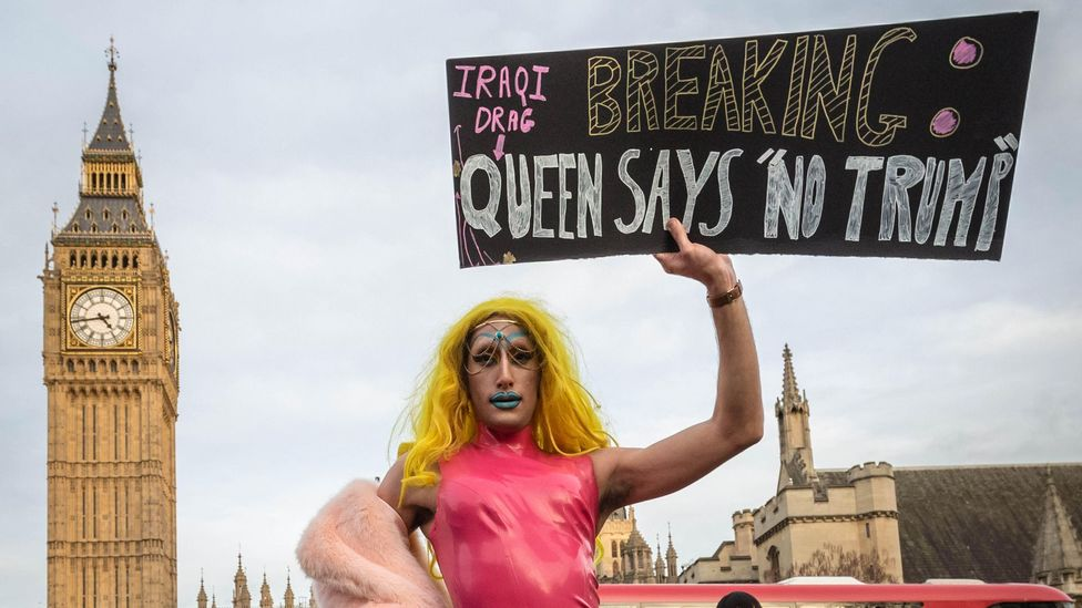 Amrou Al-Kadhi, aka Glamrou, here seen taking part in Anti-Trump protests in Westminster in 2017, uses drag as a political tool (Credit: Alamy)
