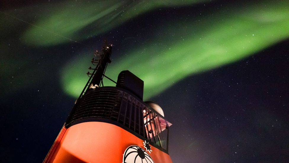 The scientists and crew on board Polarstern catch sight of the aurora on their journey to the ice, but soon they will be too far north to see it (Credit: AWI/Stefan Hendricks)