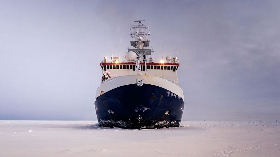 Polarstern will anchor itself to an ice floe and drift with it for a year as scientists on board study the Arctic environment (Credit: AWI/Mario Hoppmann)