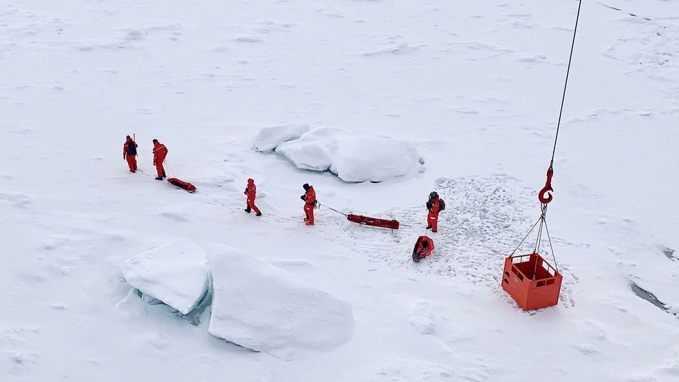 Scientists take their first steps on the new floe, which they hope will become their new home (Credit: AWI/Sebastian Grote)
