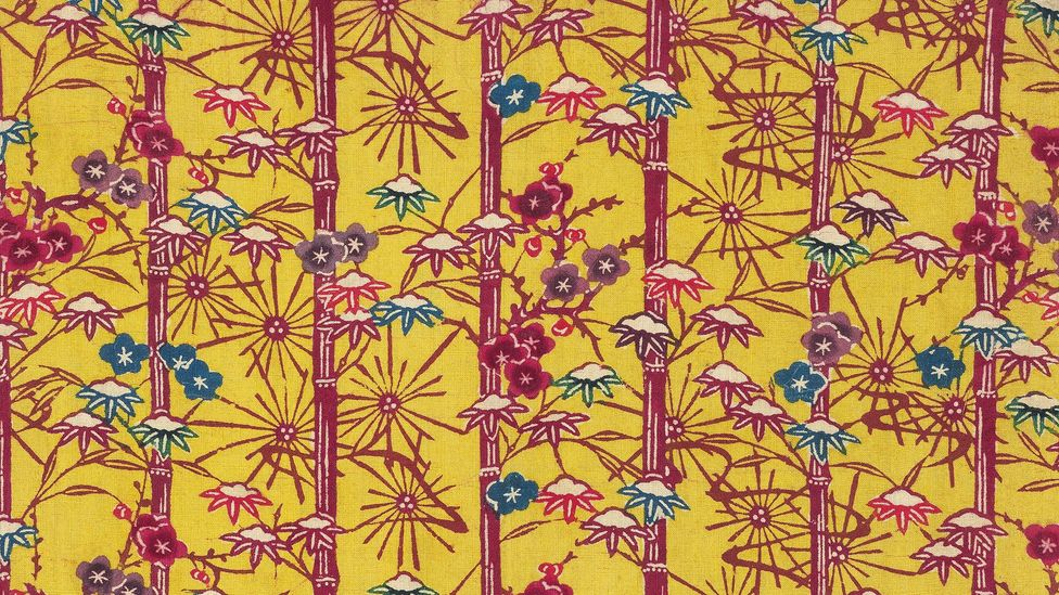 Yellow ground bingata fragment with vertical motif of snowy bamboo and snowflakes