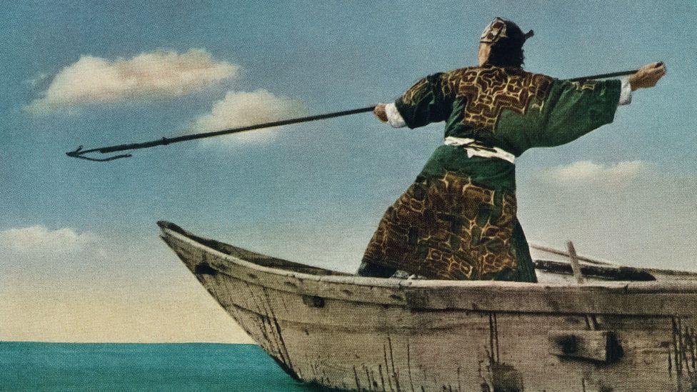 Vintage ethnographic postcard of ainu robe