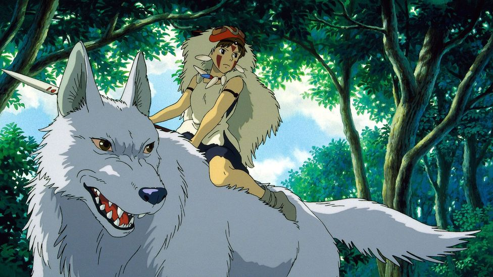 The great white wolf goddess, Moro, from the animated film Princess Mononoke is based on the legend of the Mitsumine Shrine (Credit: Alamy)