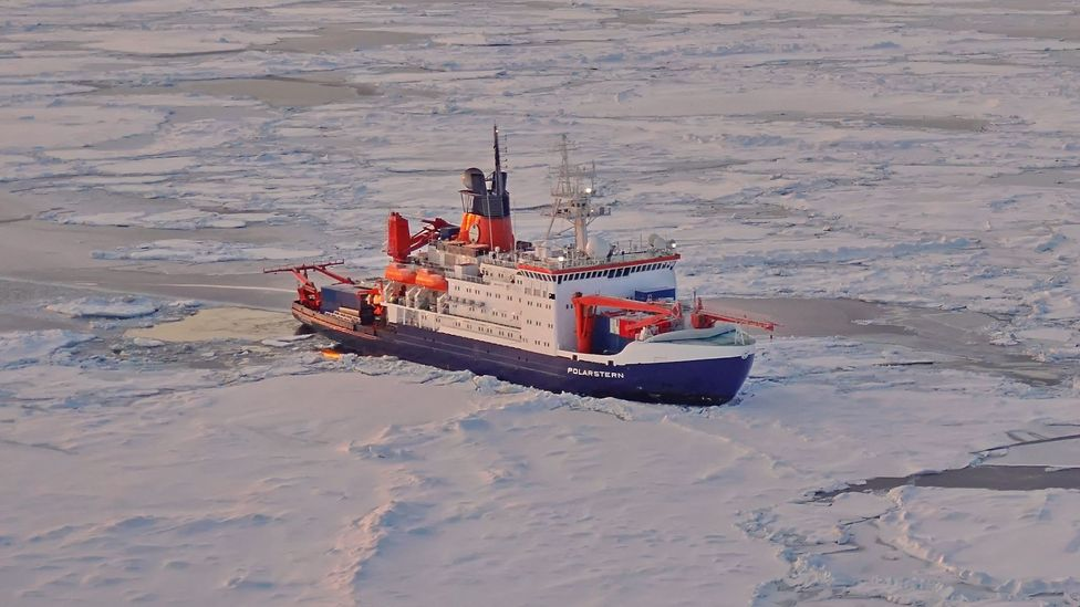 The Polarstern needs to find a stable ice floe on which to set up its research base before the long winter darkness sets in (Credit: Markus Rex/AWI)