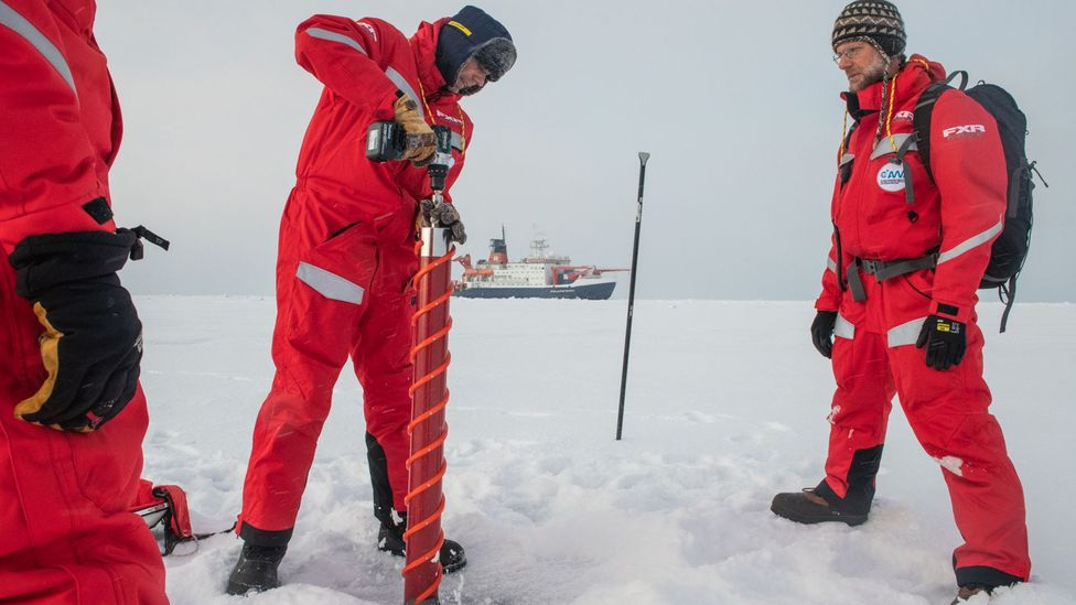 Surveys of the sea ice by the scientists on the expedition have revealed it is thinner than satellite images had led them to expect (Credit: Esther Horvath/AWI)