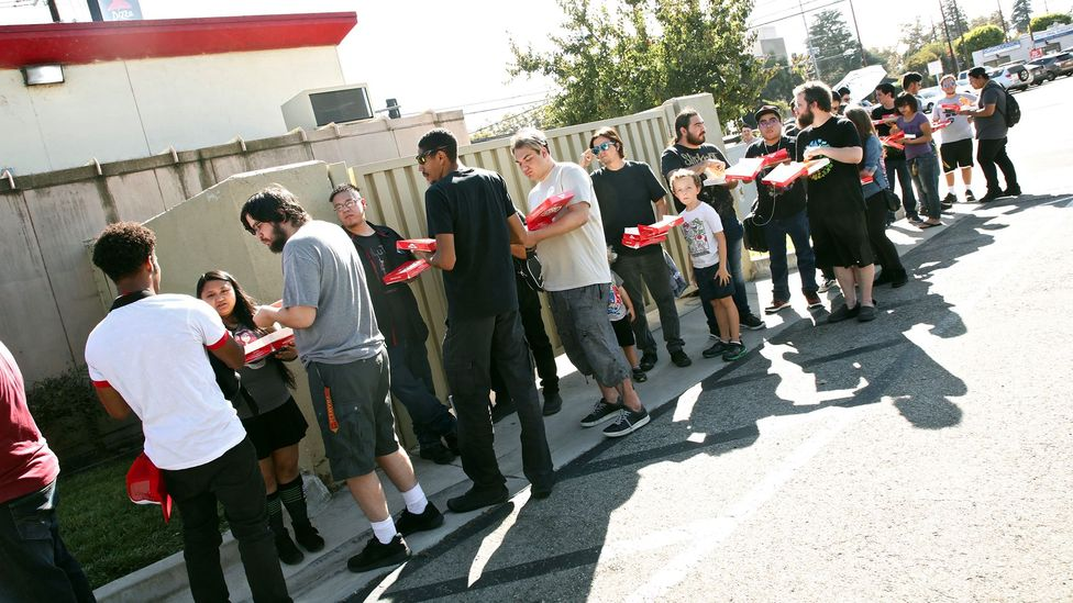 Patrons queue to meet famous YouTube personalities at a launch event for Pizza Hut's Stuffed Cheez-It pizza in Hollywood in September (Credit: Getty Images)