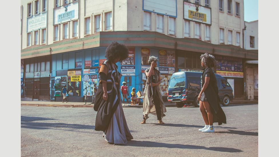 Fashion shoot in old textile district, Harare, Zimbabwe (Credit: Zash Chinhara)