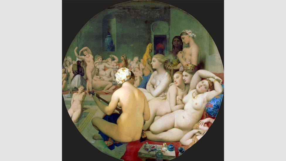 The Turkish Bath by Ingres shows a group of women bathing painted in an eroticised, voyeuristic style (Credit: Alamy)