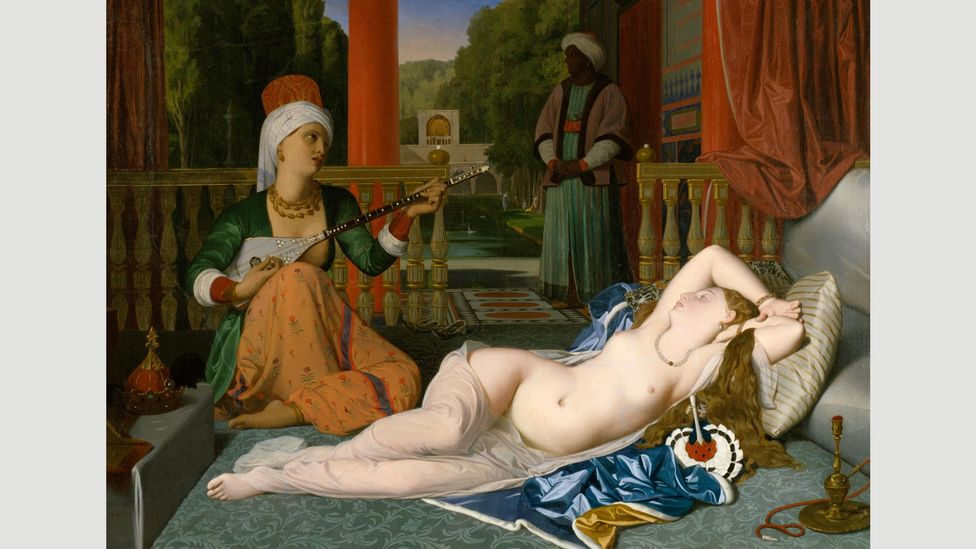 Odalisques, such as Ingres' Odalisque with Slave, 1842, were paintings of solitary nudes or nudes flanked by slaves (Credit: Alamy)