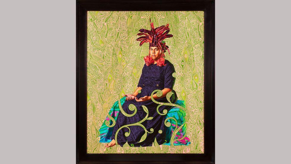 Portrait of Tahiatua Maraetefau by Kehinde Wiley (2019) – Wiley posed his Māhū sitters to recall Gauguin