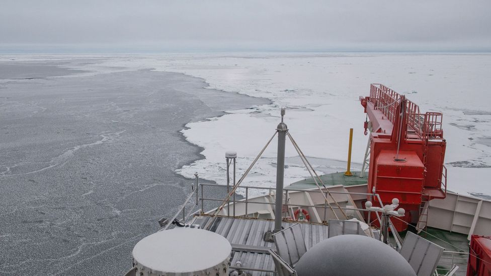 """The edges of the """"fortress"""" ice floe seem thin and waterlogged but in the distance the ice rises up and becomes thicker (Credit: Esther Horvath/AWI)"""
