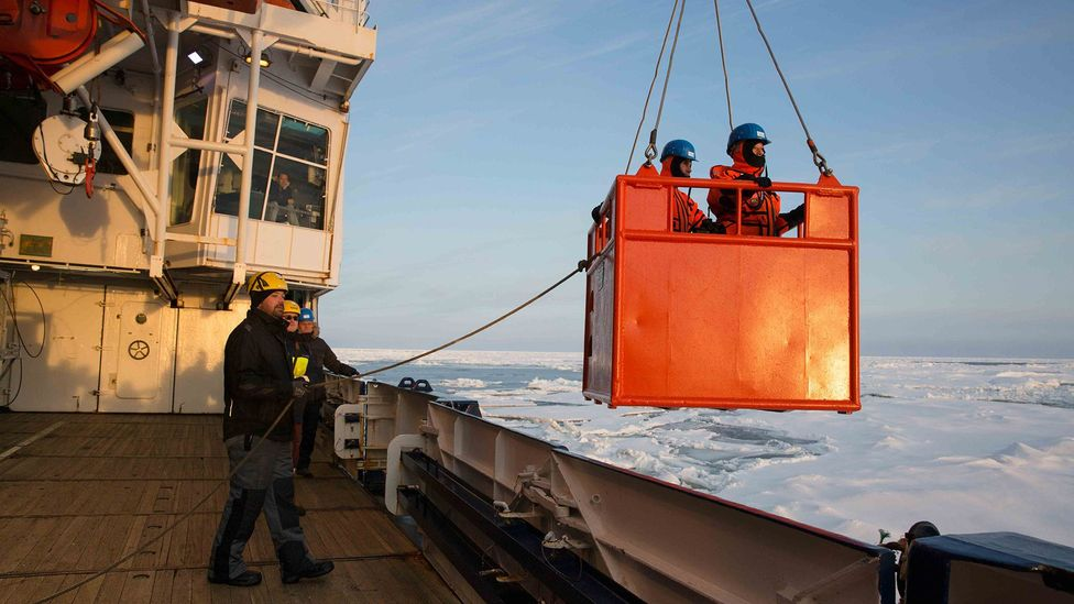 Getting on and off the ship is no easy task when the sea ice cracks and breaks around the floating vessel (Credit: Sebastian Grote/AWI)