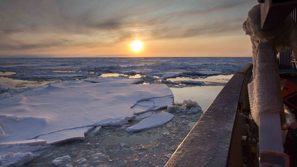 The sea ice in the region where the Mosaic mission have been searching has turned out to be much thinner than they were expecting (Credit: Sebastian Grote/AWI)