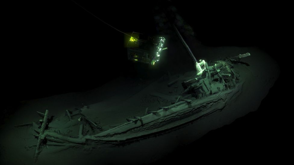 Maritime archaeologists discovered the world's oldest intact shipwreck (pictured), a Greek trading ship from around 400BC (Credit: Black Sea MAP)