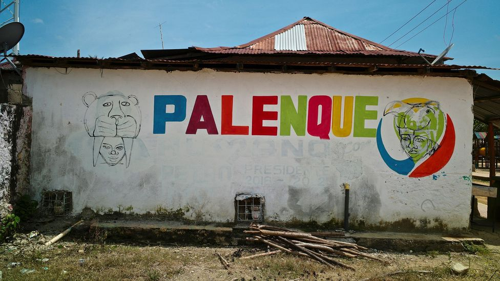 A mural in San Basilio de Palenque; the palenquero language has been in danger of dying out (Credit: Getty Images)