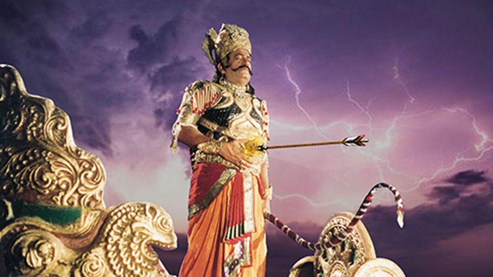 In the Ramayana, Ravan (Arvind Trivedi) kidnaps Sita as an act of vengeance (Credit: Ramanand Sagar Productions)