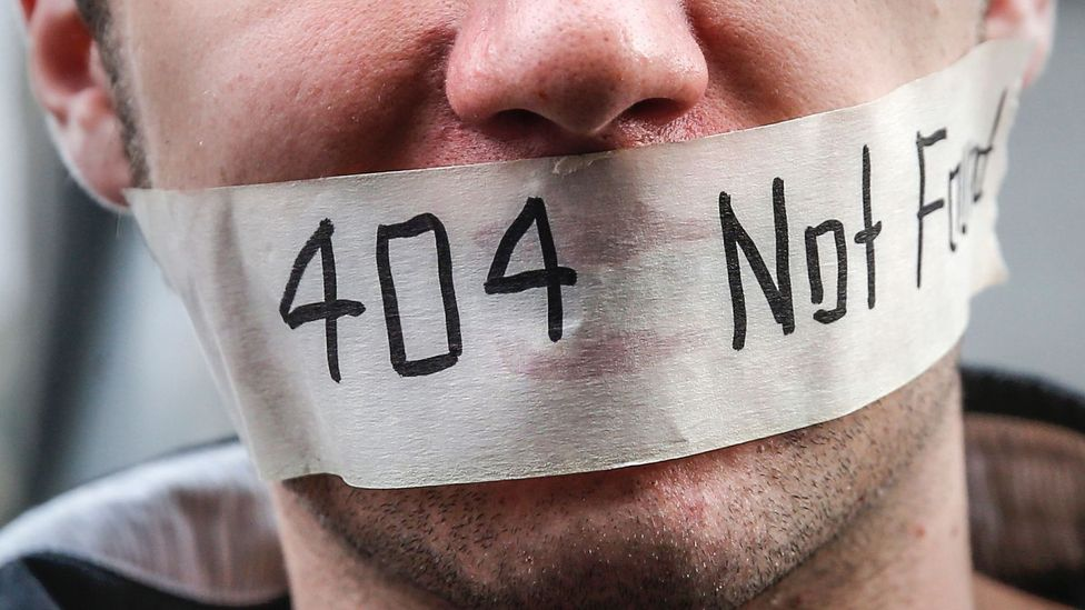Man with 404 error sticker on mouth (Credit: Getty Images)