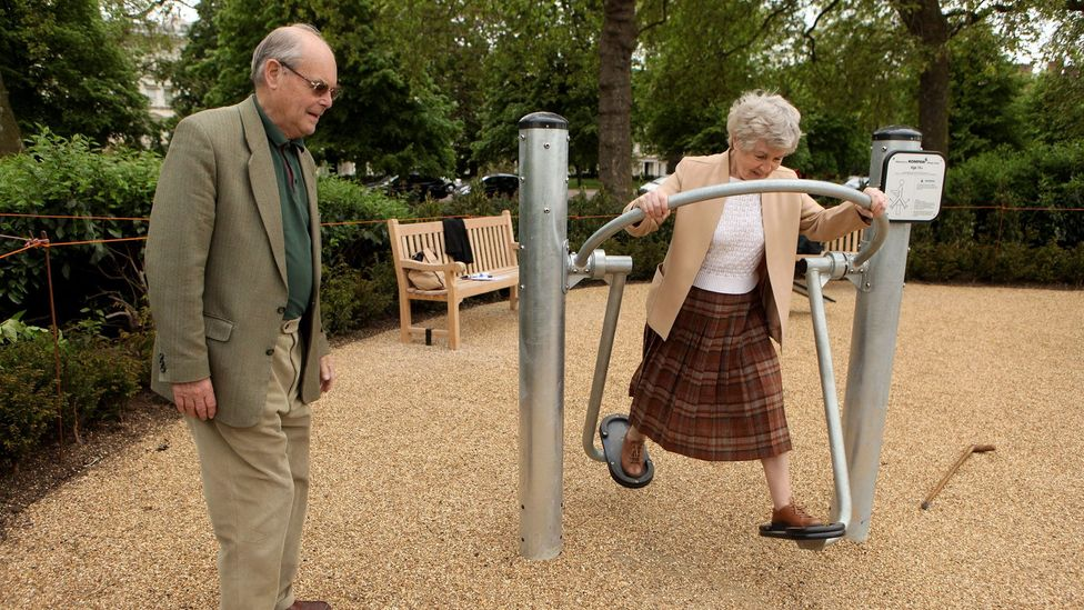 London's Hyde Park Senior Playground is among the many playgrounds for the elderly springing up around the world (Credit: Getty Images)