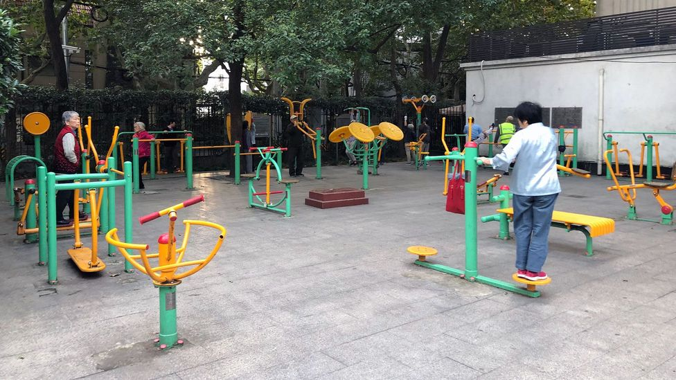 Many parks in China are equipped with colorful exercise machines for the elderly, the largest base of park users in the country (Credit: Lexie Comstock)