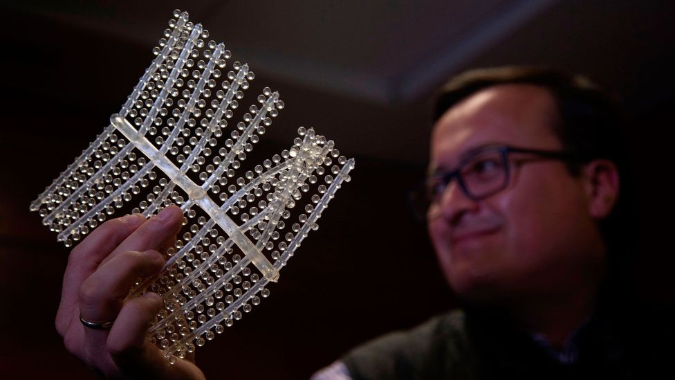 A biodegradable material that engineers claim dissolves 100% upon contact with water is unveiled at a technology summit in Chile (Credit: Claudio Reyes/AFP/Getty Images)