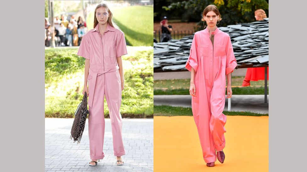 For spring/summer 2020, Henry Holland and Roksanda showed playful, pink jumpsuits in utilitarian silhouettes (Credit: Getty Images)