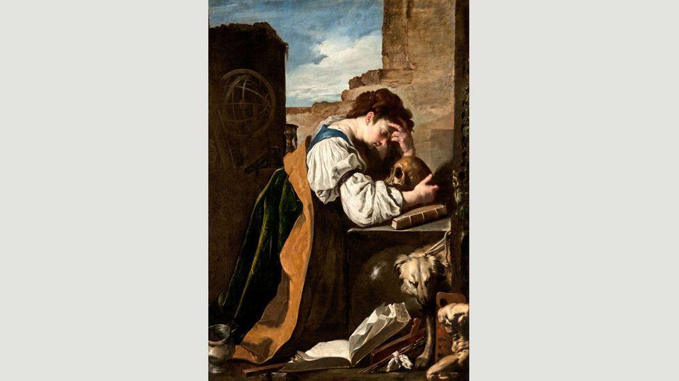 Fetti'nin Melancolia'sı, Dürer'in gravürlerinden olağan öğelerin yanı sıra boya fırçalarını da içeriyor (Kredi: Alamy)