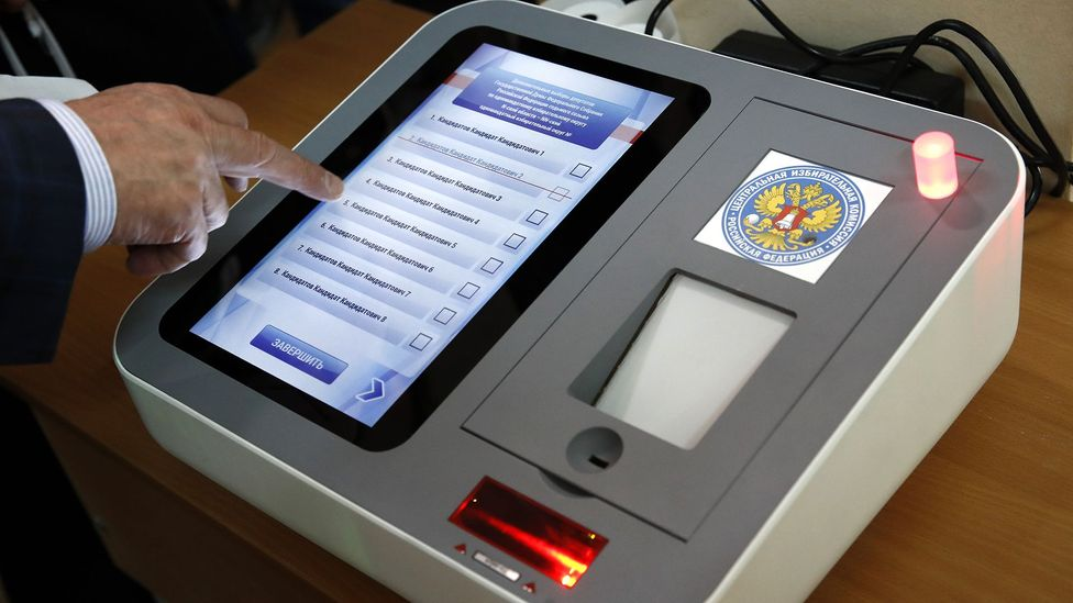 Electronic voting makes counting votes easier but fears of its security means it has not been adopted in many countries (Credit: Getty Images)