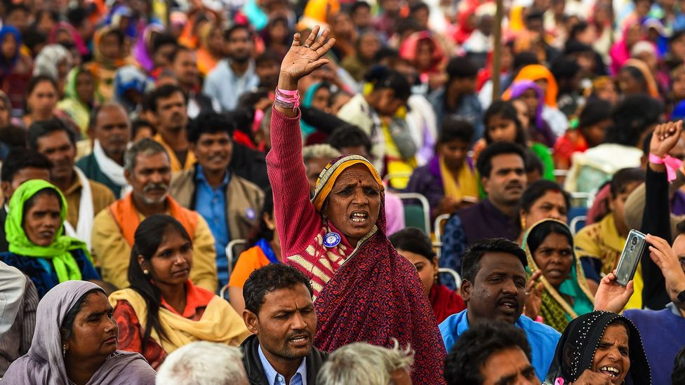 Participants shout slogans in the Dignity March in New Delhi in February 2019; the 10,000km march sought to raise awareness of sexual violence against women (Credit: Getty Images)