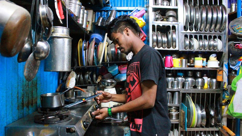Akshay, who joined the programme back in 2014, makes chai tea at home (Credit: Chhavi Goyal)
