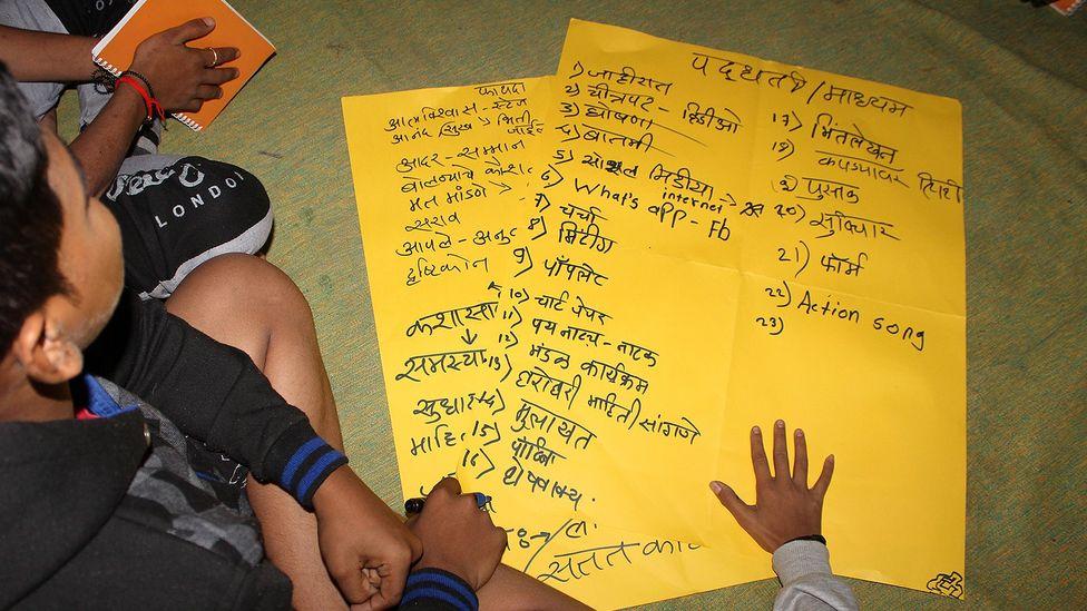 Boys listen during an ECF session in Pune (Credit: Chhavi Goyal)