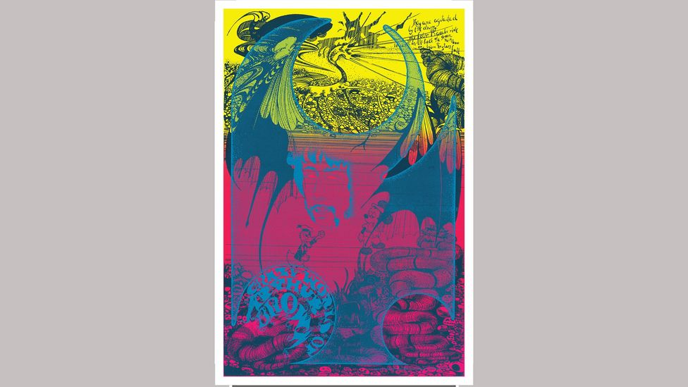 The poster for the Crazy World of Arthur Brown was inspired by an ancient Central American legend (Credit: Hapshash/ Bamalama Gallery)