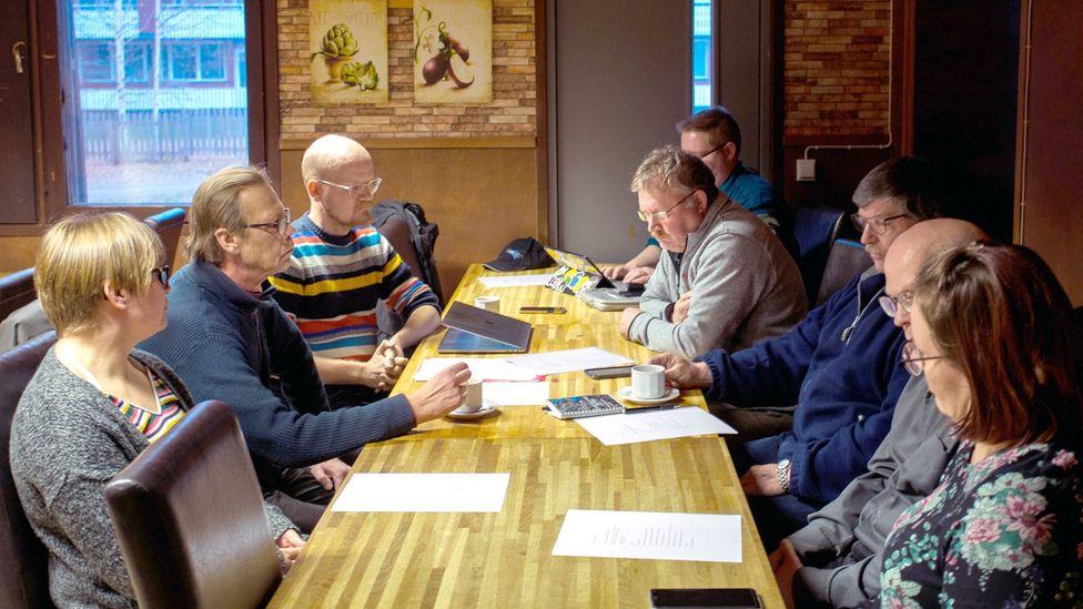 Members of the Puolanka Pessimist association meet in the town (Credit: Saila Huusko)