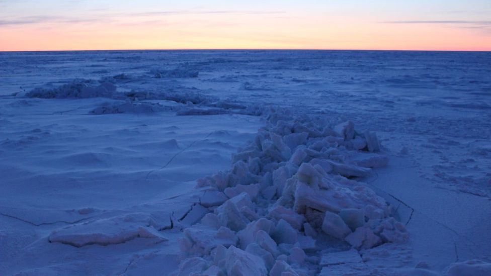 The wake of the Akademik Fedorov, a Russian supply vessel, transformed from a 25m-wide trail of slush and ice, to a thin seam (Credit: Martha Henriques)