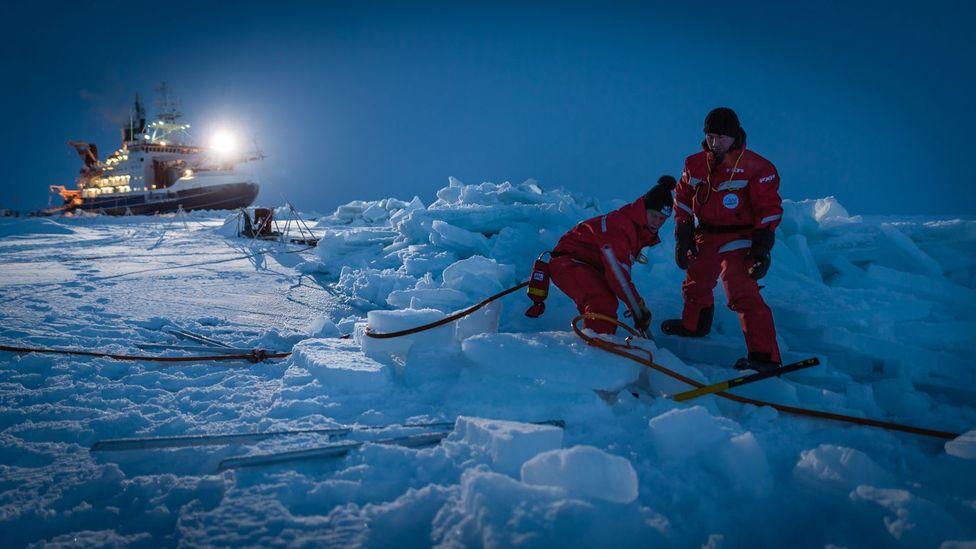 The German icebreaker Polarstern is spending a year frozen in ice in the Arctic (Credit: AWI/Stefan Hendricks)