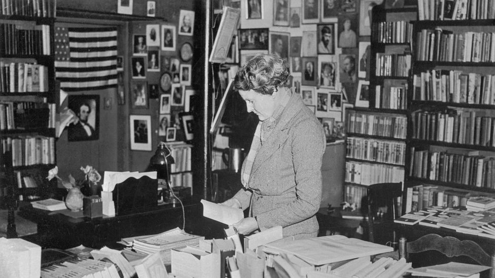 The founder Sylvia Beach pictured in her famous store, Shakespeare and Company (Credit: Getty Images)