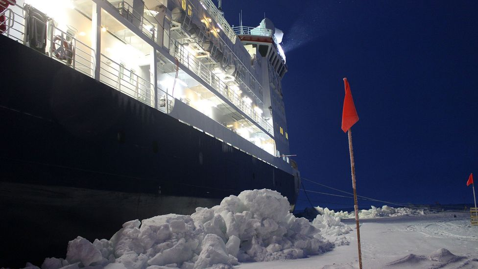 Blocks of ice build up at the side of Polarstern, a result of the ship crushing against the floe as it settles in (Credit: Martha Henriques)