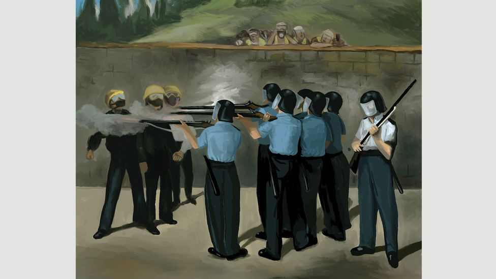 Justin Wong – whose Execution is shown here – is one of the professional artists whose work has been attached to Lennon walls (Credit: Justin Wong)