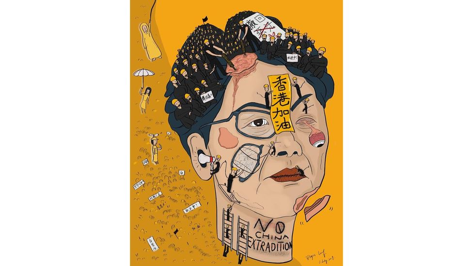 Illustrator and designer Elyse Leaf created this image of Hong Kong's chief executive Carrie Lam in July just after protests broke out in the city (Credit: Elyse Leaf)