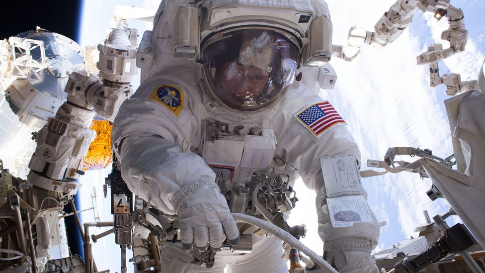 The suits needed to be tough enough to withstand long missions but flexible enough to allow the astronauts to move with as much freedom as possible (Credit: Nasa)