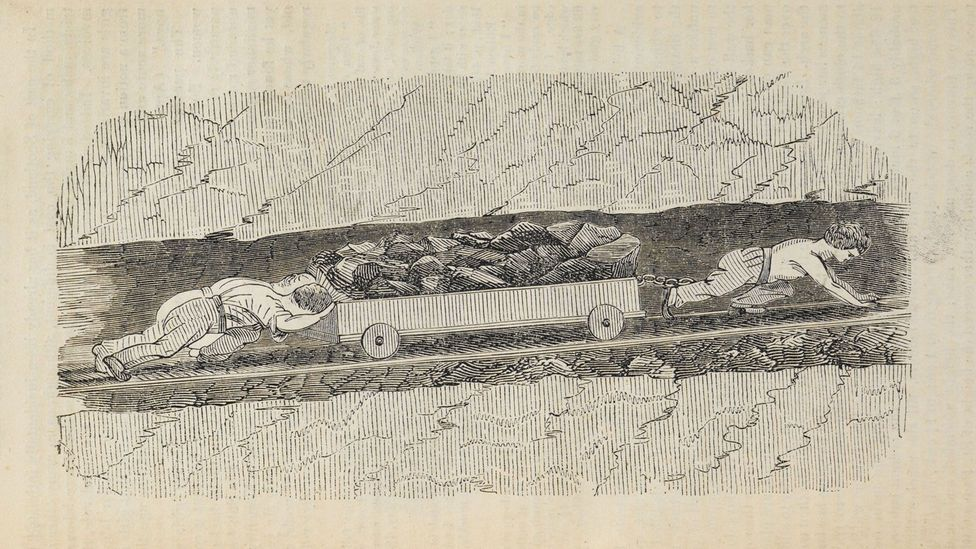 Gillies illustrated an 1842 report on children working in mines (Credit: The British Library)