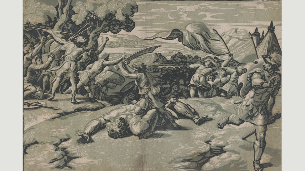 "Based on a design by Raphael, Ugo da Carpi's David Slaying Goliath (c 1520-27) was one of the first examples of woodcuts in ""light and dark"" (chiaro et scuro), or chiaroscuro"