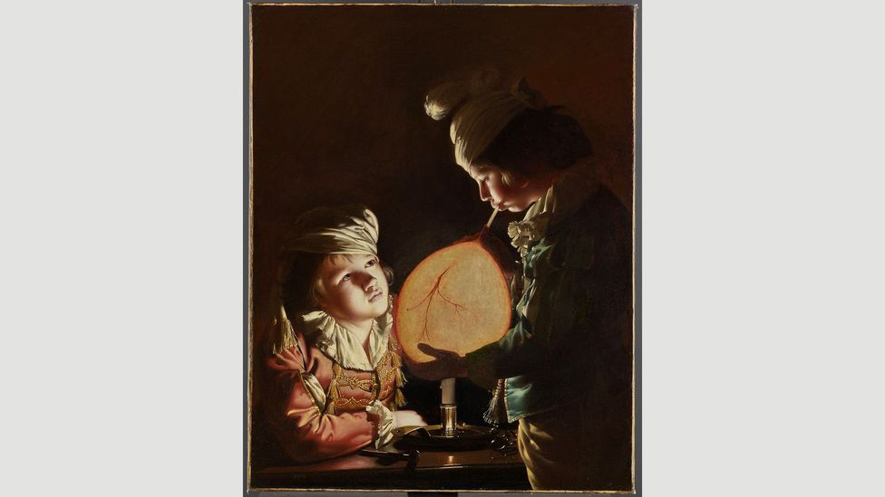 In Two Boys Blowing a Bladder by Candlelight, Joseph Wright of Derby captures the fascination with science in the 18th Century