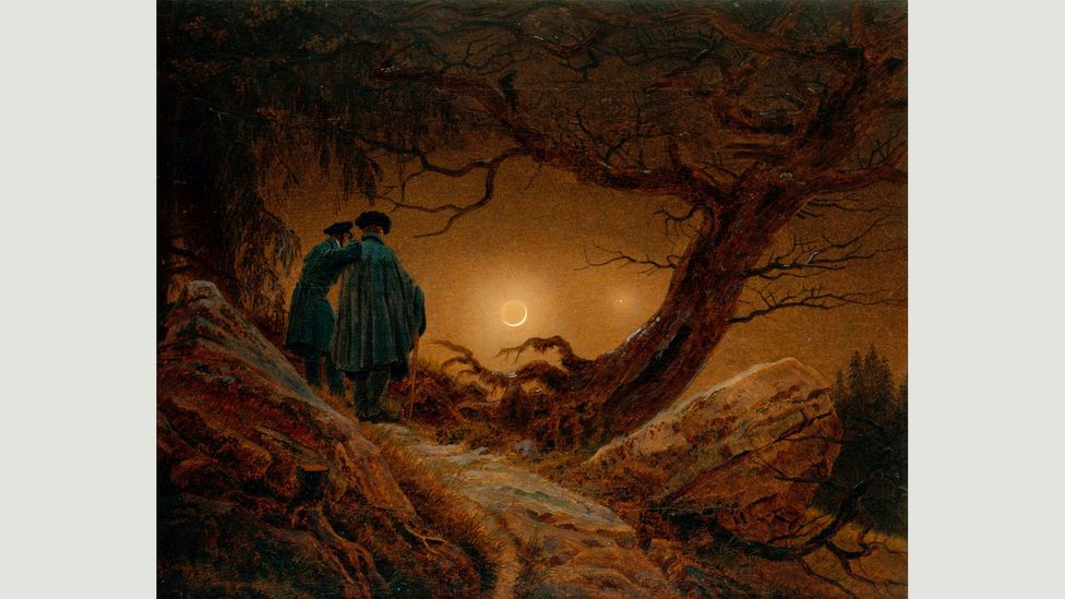 Caspar David Friedrich's Two Men Contemplating the Moon highlights spirituality in nature and the presence of the sublime