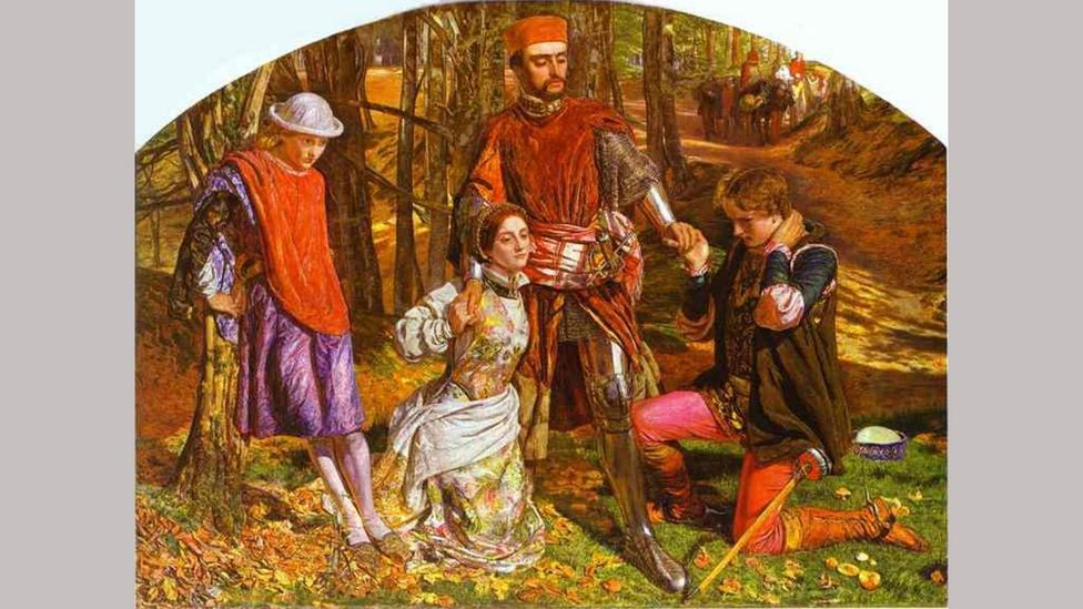 Siddal also posed for the artist William Holman Hunt - for his painting Valentine Rescuing Sylvia from Proteus (1851) (Credit: Alamy)