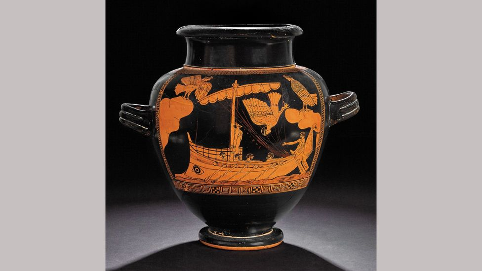 On his long journey home from the Trojan War, Odysseus escapes the sirens, as portrayed on this ceramic Athenian jar, 480-470BC  (Credit: Trustees of the British Museum)